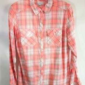 Croft & Barrow Long Sleeve Pink Plaid Button Shirt